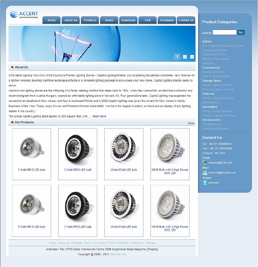 Semcms外贸网站led模版